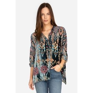 Johnny Was ELIANA Burnout Velvet Blouse Top